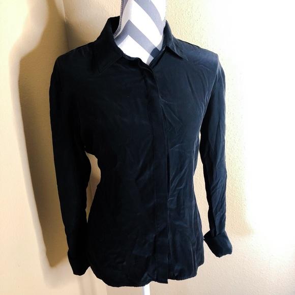 69241209773d68 Frame Denim Tops - Frame 100% Silk Black Button Up Shirt
